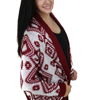Burgundy Aztec Pocket Cardigan