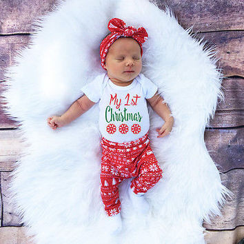 Christmas Baby Girl Boy Snowflake Romper Pants Leggings Hat Outfits Set Clothes Autumn Winter Baby Xmas Clothing