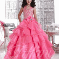 Girls Pageant Dress Tiffany Style 33428 Size 2 Candy Pink