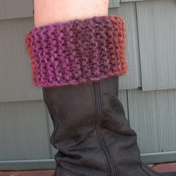Boot Cuffs, Toppers, Hand Knit Variegated Autumn Shades, Rust, Purple, Pink, Bulky Yarn, Leg Warmer, Women's Fashion, Reversible Fold Over