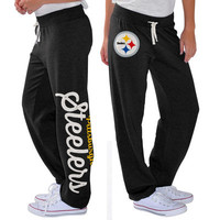 Women's Pittsburgh Steelers G-III 4Her by Carl Banks Black Scrimmage Fleece Pants