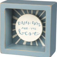 Beach Days Are The Best - Coastal Blue Shadowbox Mini Box Sign - 3-1/2-in