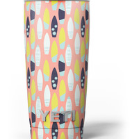 The Coral Colored SurfBoard Pattern Yeti Rambler Skin Kit