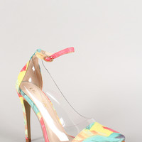 Liliana Feather Lucite Ankle Strap Pointy Toe Pump