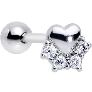 """1/4"""" Clear CZ Gem Be My Valentine Heart Tragus Cartilage Earring"""
