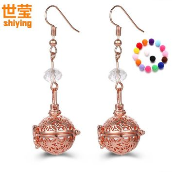 SHIYING  (12  soft beads ) aromatherapy lockets earrings  Free felt beads  Hollow  Essential Oils diffuser  Butterfly shape  H07