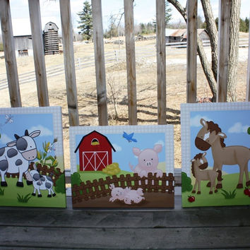 Set of 3 Farm Animals Stretched Canvases Baby Nursery CANVAS Bedroom Wall Art 3CS064