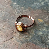 Citrine ring, wire wrapped, copper, thin band