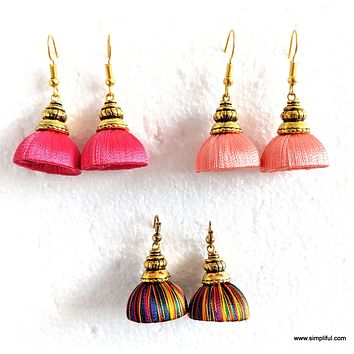 Silk Thread Kalasam Gold cap small Jhumka Hook Drop Earring