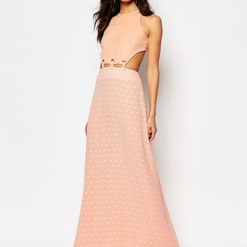 Foxiedox Lucilla Maxi Dress With Lace Up Cutout Detail at asos.com