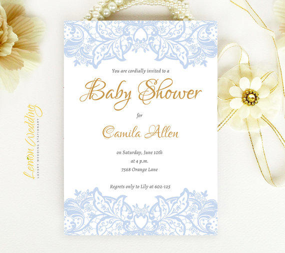 elegant baby shower invitation blue from lemonwedding on etsy