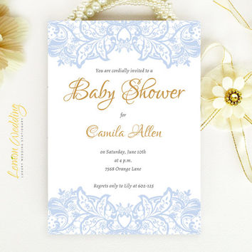 Elegant Baby Shower Invitation - blue lace baby boy shower invitation printed on luxury white or cream pearlescent paper