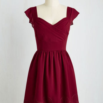 Mid-length Short Sleeves A-line Let's Reminisce Dress in Cranberry