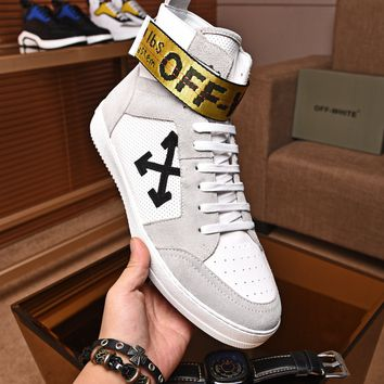 OFF-WHITE C/O VIRGIL OW Men Fashion high top white Boots Casual Retro Sneakers Shoes 2019 Best Quality
