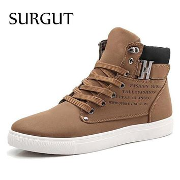 SURGUT Men Shoes 2016 Top Fashion New Winter Front Lace-Up Casual Ankle Boots Autumn S