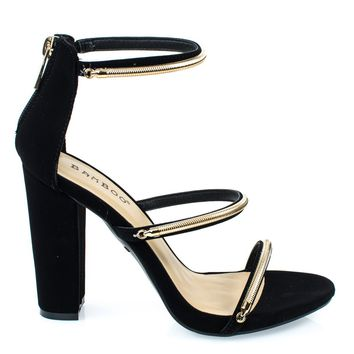 Limelight34M Black By Bamboo, Triple Metal Chain Block Heel Sandal. Women's Evening Sandal