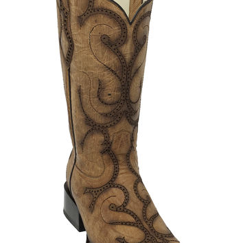 Corral Beige Laser Square Toe Boots