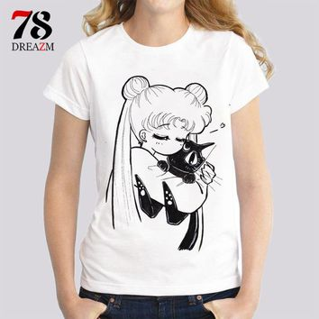 Tops and Tees T-Shirt sailor moon t shirts women female Fashion print cat women t-shirt 2017 summer funny Tee shirt Femme harajuku kawaii  AT_60_4 AT_60_4