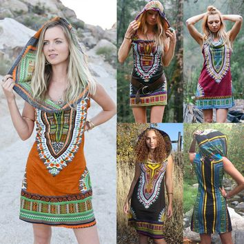 2018 Summer Women New Fashion Sexy Hooded Sleeveless Mini Dress Short Day Tripper Hoodie Dress Ox Blood Color Festival Hippie Gy