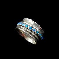 Opal Sterling Silver Spinner Ring Wide Hammered Band Unisex