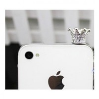 SODIAL 3.5mm Crystal Crown Anti Dust Earphone Jack Plug Stopper for iPhone 4 4s (SILVER)