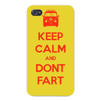 Apple Iphone Custom Case 4 4s Snap on - 'Keep Calm and Don't Fart' Hippie Van w/ Flower