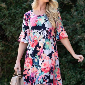 Victoria Neon Flutter Sleeves Dress