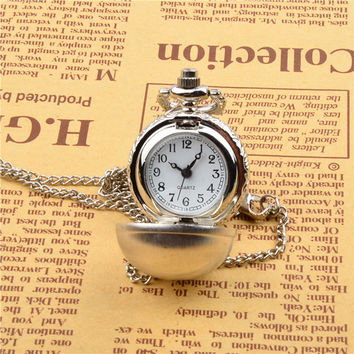 HOT Ball shape pocket watch necklace pendant, watch necklace, globe necklace pendant, come with free necklace chain