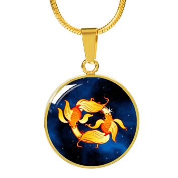 Zodiac Sign Pisces - 18k Gold Finished Luxury Necklace