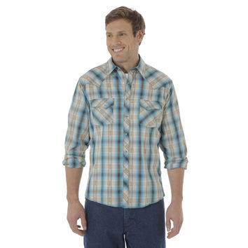 Wrangler Mens Fashion Rancher  Snap Long Sleeve Shirt