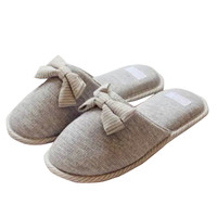 Bow Detail Round Toe Slippers