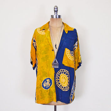 Vintage 90s Yellow & Blue Batik Shirt Batik Print Shirt Ethnic Tribal Print Shirt Slouchy Oversize Shirt Button Up Shirt Boho Grunge S M L