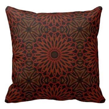 Repeating Brown/Rust Mandala Pattern - 20 x 20 inch Polyester Throw Pillow
