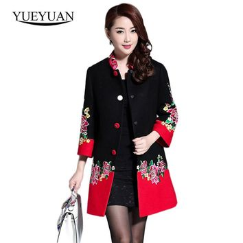 Plus Size 2017 Women Floral Jacquard Cloak Cashmere Embroidery Red And Black Winter Long Coat Patchwork Single Breasted Overcoat