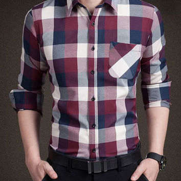 Color Block Checked One Pocket Long Sleeve Shirt