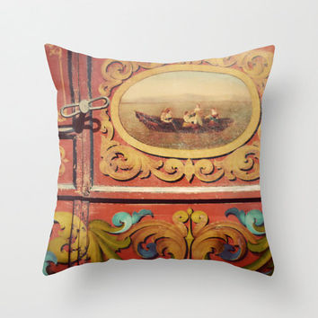 SALE Pillow Cover, Gypsy Caravan, Orange, Autumn Portrait, Photo Pillow, Bohemian, Gold, Whimsical, Living Room