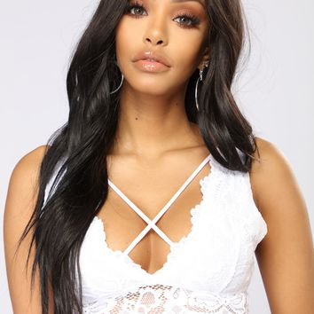 Don't Double Cross Me Bralette - White