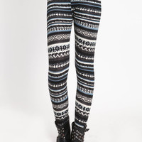 TRIBAL PRINT FLEECE LEGGINGS