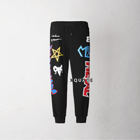 K Color Print Patch Jersey Pants