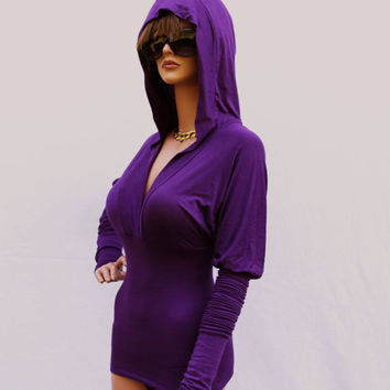 Purple Hooded Top With Extra Long Sleeves/ T-shirt/tunic/tank top