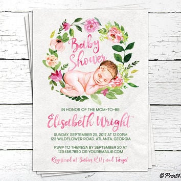 Baby Shower Invitation // Personalized Digital Decorative Baby Girl Shower Invitation // Baby Girl Shower // Baby Shower
