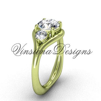 "Unique 14kt yellow gold Three stone engagement ring, ""Forever One"" Moissanite VD8112"