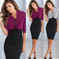 Work to work business 2014 Vintage half sleeve Botton Women Pinup Colorblock Tunic Work Cocktail Party Bodycon Pencil Dress 820 = 1956589956