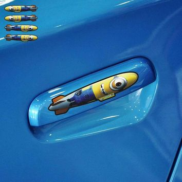 Aliauto Car-styling Cartoon Minions Car Door Handle Bomb Sticker Accessories for Ford Focus 2 Opel Renault Toyota Smart Peugeot