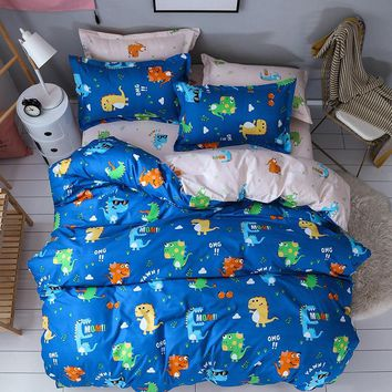 Colorful Soft Dinosaur Bedding Set 3/4pcs High Quality duvet Cover cartoon blue boys quilt cover Home Room Decoration bedclothes