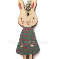 rabbit necklace bunny jewellery wood wooden charm cute sweet jewelry animal jewellery animals children etsy easter bunny