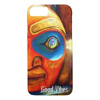 """Good Vibes"" Quote, Cute Fun Wood Totem Face Photo iPhone 8/7 Case"