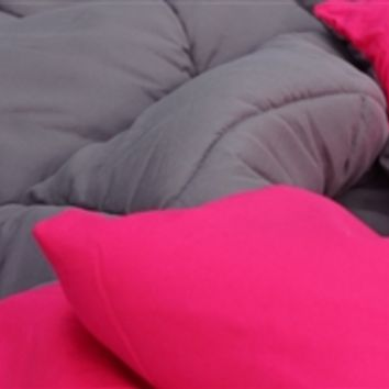 Granite Gray/Knockout Pink Reversible College Comforter - Twin XL