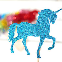 Rainbow Unicorn Cupcake Toppers - Set of 12