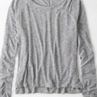 AEO Women's Don't Ask Why Light Knit Sweater (Light Heather Grey)